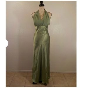 Betsy & Adam Long Dress Green Small Prom Wedding